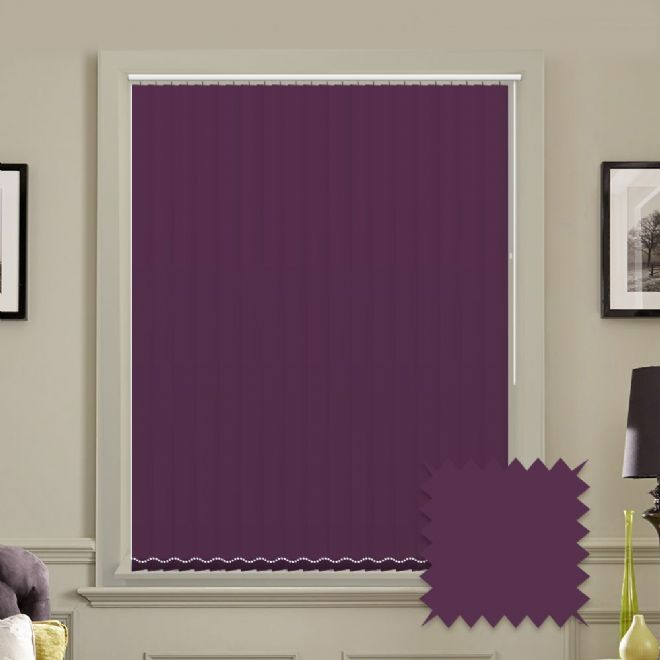 Unicolour Mulberry Purple 5 inch Vertical Blinds - made to measure - Just Blinds